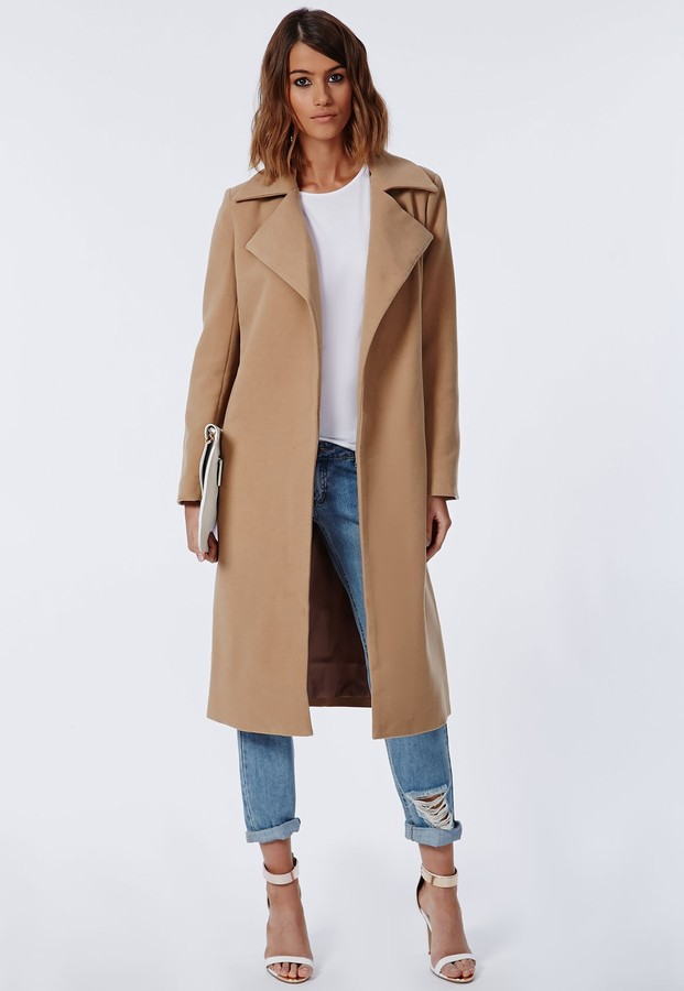 missguided khloe oversized premium waterfall coat camel where to buy how to wear. Black Bedroom Furniture Sets. Home Design Ideas