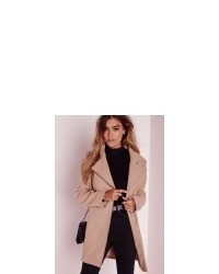 Missguided Petite Faux Wool Biker Coat Camel | Where to buy & how