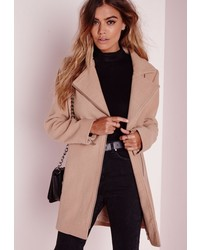28319658aba2 Missguided Khloe Oversized Premium Waterfall Coat Camel Out of stock ·  Missguided Petite Faux Wool Biker Coat Camel
