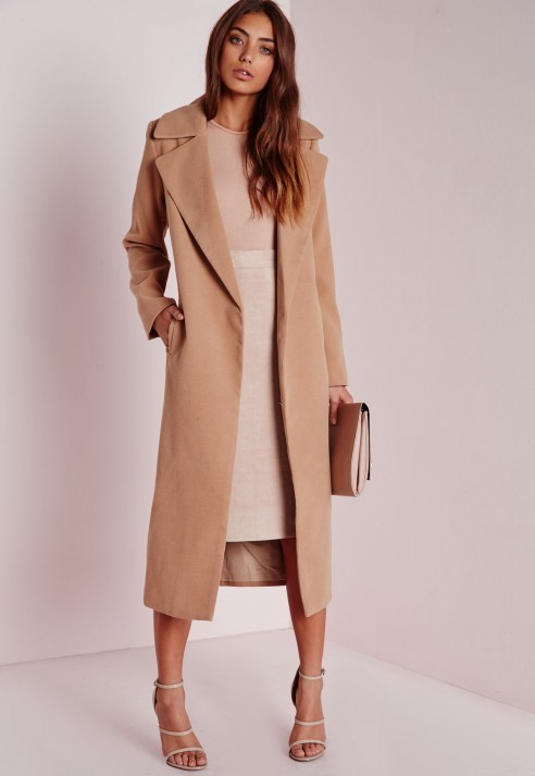 Missguided Petite Faux Wool Longline Coat Camel | Where to buy ...