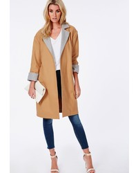 18a76a7c6560 Missguided Collarless Zip Wool Jacket Camel Out of stock · Missguided  Oversized Contrast Lapel Cuff Duster Coat Camel
