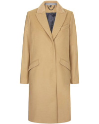 Topshop Premium Wool Coat With Luxe Sheepskin Collar And Grey Contrast Inside Hem Includes Internal Breast Pocket 80% Wool 20% Nylon Dry Clean Only