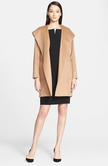 445df44344f ... Max Mara Rialto Hooded Camel Hair Wrap Coat ...