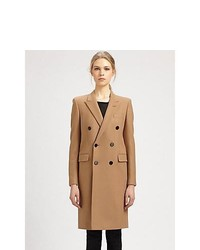 Saint Laurent Double Breasted Wool Coat Camel