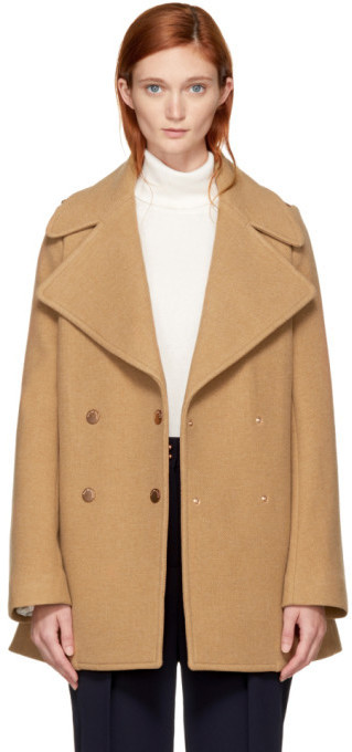 See by Chloe See By Chlo Tan Double Breasted Wool Coat