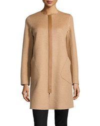 Lafayette 148 New York Shira Double Faced Leather Trim Coat Camel