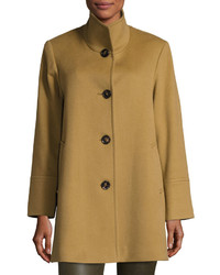 Fleurette Stand Collar Woolcashmere Coat Toast