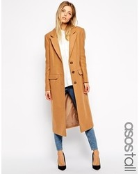 Asos Tall Midi Coat In Wool