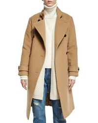 Vince Wool Blend Double Breasted Trenchcoat Camel