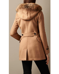 Burberry Brit Detachable Fur Trim Fitted Duffle Coat   Where to ...