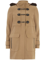 Dorothy Perkins Camel Plush Faux Fur Duffle Coat