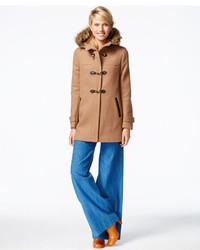 Cole Haan Faux Fur Trim Clasp Closure Coat