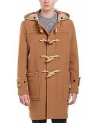 Burberry Greenwich Duffle Wool Blend Linen Trim Coat