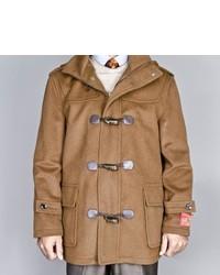 Mantoni Chesnut Wool Cashmere Blend Toggle Coat