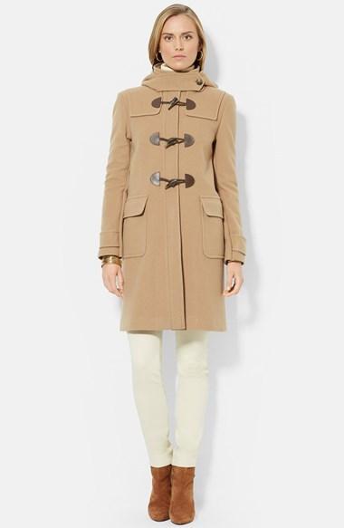 100% quality quarantee special sales select for authentic $365, Lauren Ralph Lauren Stand Collar Wool Blend Duffle Coat