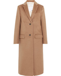 Valentino Stud Embellished Camel Hair Coat Tan