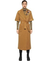 I'M Isola Marras Wool Blend Coat W Embroidered Patches