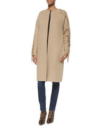Ralph Lauren Cashmere Blend Fringe Trimmed Collarless Coat