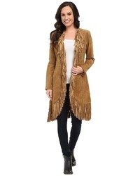 Scully Helena Long Soft Suede Fringe Leopard Lining Coat