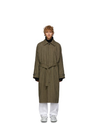 Acne Studios Beige Vichy Check Wool Over Coat