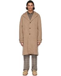 Etro Beige Brown Wool Twill Pattern Coat