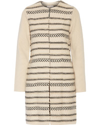 Tory Burch Paneled Wool Blend Jacquard Knit Coat Beige