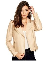Blank NYC Natural Vegan Leather Moto Jacket In Natural Light Coat