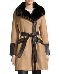 Via Spiga Wool Blend Asymmetric Zip Belted Coat Camel