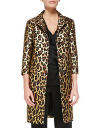 St. John Collection Long Leopard Print Topper With 34 Sleeves Gold