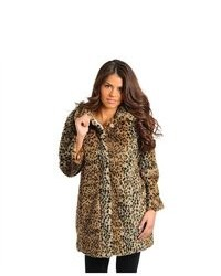 G2 Chic Leopard Animal Print Faux Fur Oversized Winter Coat