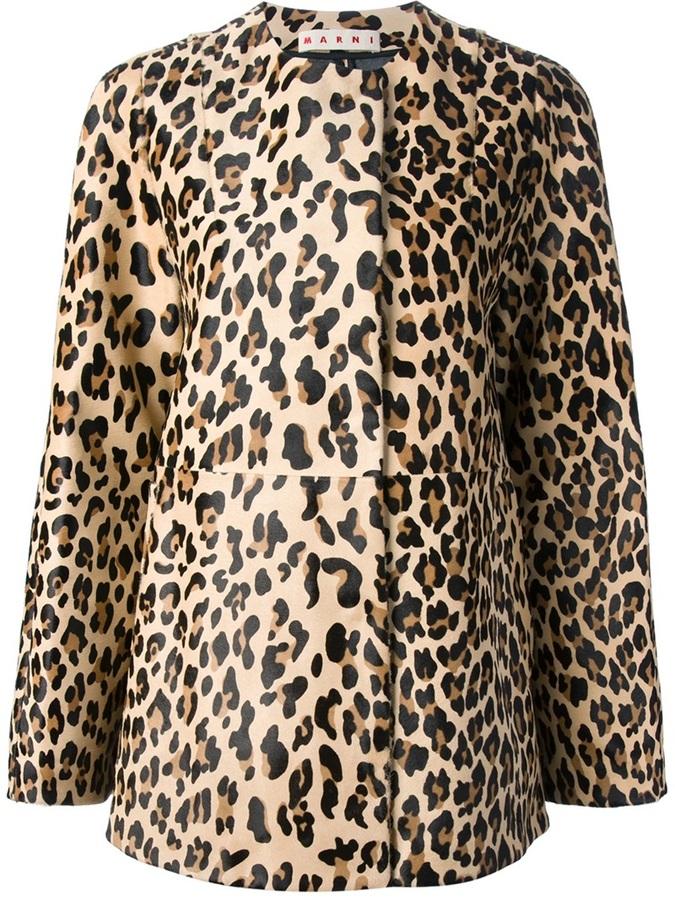 Marni Leopard Print Coat