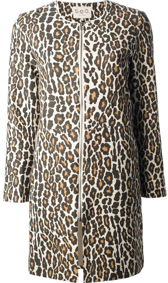 Sea Leopard Print Coat