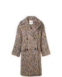Kenzo Leopard Print Double Breasted Coat
