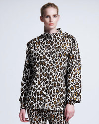 Stella McCartney Leopard Print Linen Cocoon Coat