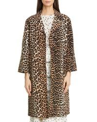 Ganni Leopard Print Linen Cotton Coat