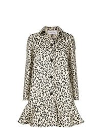 Valentino Leopard Printed Flared Coat