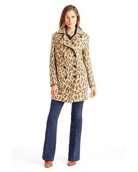 Ofrieda wool blend leopard print coat medium 85336