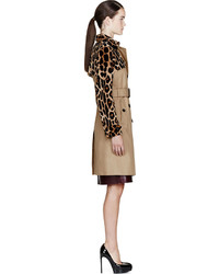 Burberry Prorsum Tan Mink Leather Trench Coat