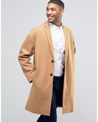 Asos Wool Mix Overcoat With Drop Shoulder In Camel