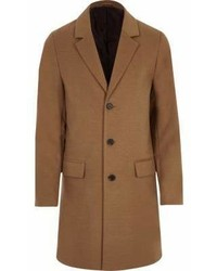 River Island Big And Tall Camel Button Up Overcoat