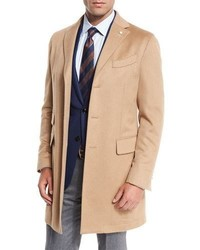Neiman Marcus Camel Hair Single Breasted Topcoat