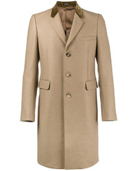Alexander McQueen Camel Single Breasted Coat With Velvet Collar