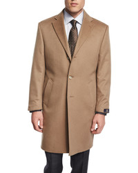 Cashmere button down long coat camel medium 358049