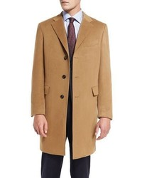 Neiman Marcus Classic Cashmere Single Breasted Topcoat Camel