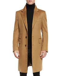 Classic tailored single breasted top coat camel medium 699873