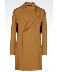 Emporio Armani Double Breasted Runway Coat In Wool Blend
