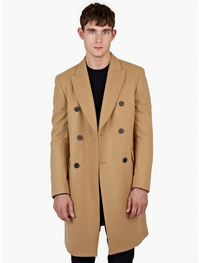 Melindagloss Camel Double Breasted Wool Coat | Where to buy & how ...