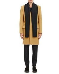 Tim Coppens Melton Overcoat With Zip Off Scarf Tan Size 50 Eu