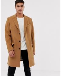 Pier One Peaked Overcoat In Camel