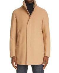Herno Rib Collar Wool Blend Car Coat